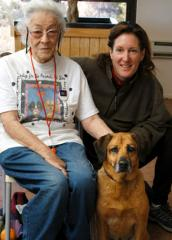Sue Hough (left), Keli Dowler, and dog Thelma