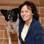 Linda Harper with a dog