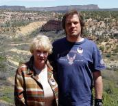 Marilyn Nicholson and her son, Scott Webster, in Kanab