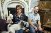 Cockatoos named TooBird and Keno with their new family
