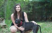 Padfoot the pit bull terrier with Kaitlyn