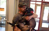 Speck the dog with Greg Hyde