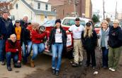 Staff and volunteers provide donations