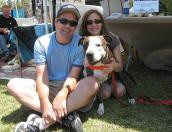 Volunteers Christy and Craig Schilling with dog