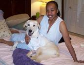 Donna with one of her adopted dogs