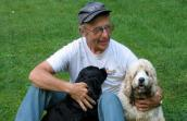 Floyd Lampart, who is doing a Pedal for Paws fundraising bike ride, with his dogs
