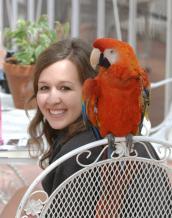 Former Best Friends intern Kirsten Floyd with parrot