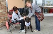 Two women petting a black dog wearing a bandana