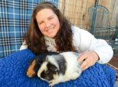 Caregiver and Rufus and Scout the guinea pigs