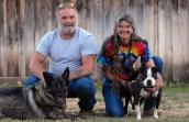 Oliver the Vicktory dog with his adoptive family