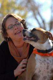 Woman and dog who would be target of breed-specific legislation in certain jurisdictions.