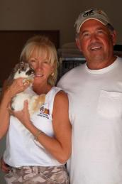 Couple with adopted rabbit