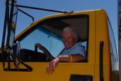 Volunteer Faye Jensen in her Penske truck
