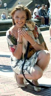 Actress Katherine Heigl and small dog