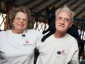 Retired couple with cat at Best Friends Animal Sanctuary