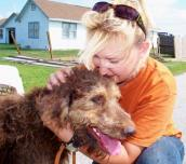 Pam and rescued dog