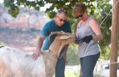 Valerie Andres and Andy Sontoski with Cupid the goat