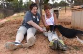 Sue Andrew and Linda Thake with Mary Jane the beagle