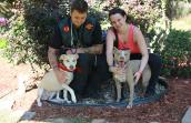 Maurepas the pit bull with her new family