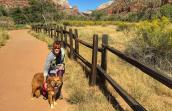 Lego the dog with Paula at Zion National Park