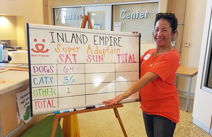 Volunteer Sophia Lim in front of a white board showing animals adopted at a Super Adoption event