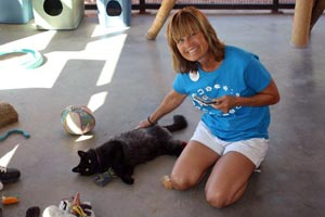 Karen Ayer in Cat World at Best Friends Animal Sanctuary
