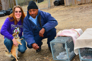 Rebecca Sass-Crews with Mohawk trapping cats for TNR