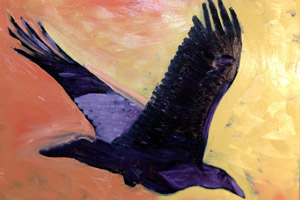 Cyrus Mejia's painting of a raven at sunset