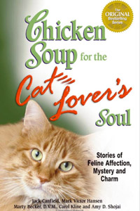 """""""Chicken Soup for the Cat Lover's Soul"""" book with Marcus the Manx cat on the cover"""