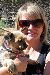 Lindsey Reeves with the puppy mill survivor Yorkie she adopted
