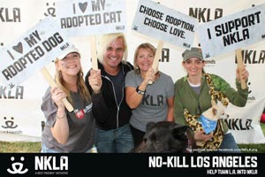 Lindsey Reeves, an advocate for puppy mill survivor dogs, volunteering at an NKLA adoption event