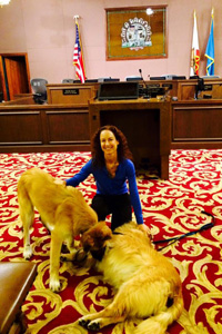 Elizabeth Oreck who helped get the pet sale ban passed with two dogs at Beverly Hills City Council