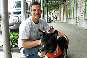 Google staffer Jeremy Machi with foster dog Elvis