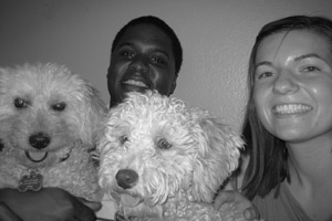 Funion the poodle with his new adoptive family