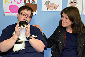 Beth the cat, who was injured in a car crash, from Community Animal Rescue and Adoption