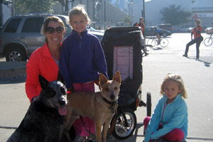 Courtney Rhein strutted with her children, Syndey and Sophie, with their dogs Biscuit and Walter.