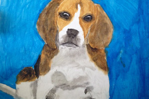 Another of Kat's paintings of a beagle. Kat is a young artist.