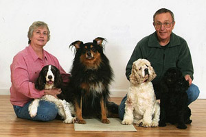 The Pedal for Paws family, Floyd and Martha Lampart and their dogs