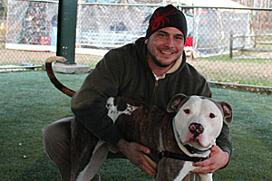 Dog from the Monmouth County SPCA and his adoptive dad