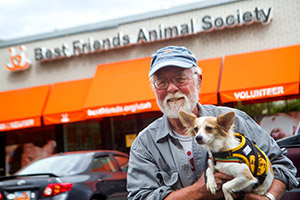 Chuck, who received a volunteer award, at the Best Friends Pet Adoption Center in Sugar House