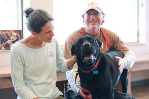 Hatch the dog recovering after his surgery and receiving some love from a veterinarian and caregiver