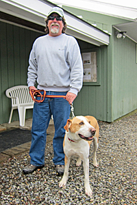 Maverick the hound mix with Bob Degone