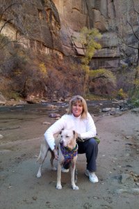 Texan Tammy Dalton with Marshmallow the dog in the Grand Canyon