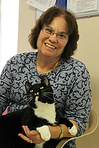 Volunteer Linda Schiele with Braveheart the cat at Best Friends Animal Sanctuary