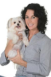 Michele Lazarow with Honey the dog