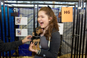 Emma Kenny gets a kiss from Roscoe