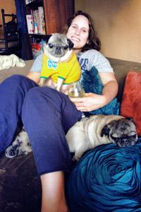 Best Friends New York volunteer Jenn Yandrisevits with her pets