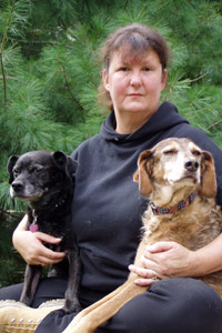 Pam Porteous of Animal Care Network in Michigan with rescue dogs
