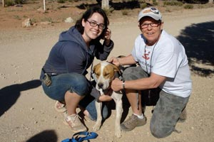 Judie Pursell with another woman and a dog at Best Friends Animal Sanctuary