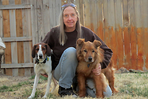 Teresa with her two dogs, Rogue and Talina